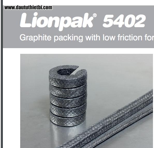 Tết chèn Lionpak® 5404 Graphite packing tẩm chì làm kín van 1 Inch X 50 Ft