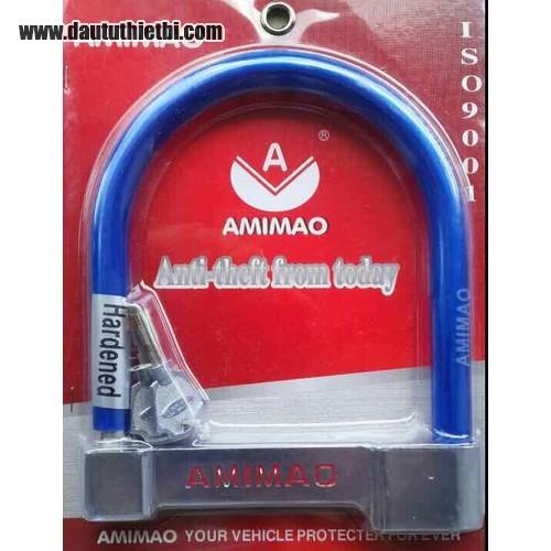 Khóa U xe máy bọc nhựa xanh đỏ cỡ to AMIMAO