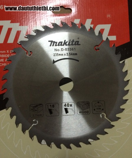 Đĩa dao cắt gỗ Makita kích thước 235 x 25.4 mm mã D-03362