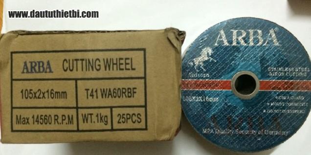 Đá cắt thép ARBA 105 mm kích thước 105 x 2 x 16 mm mã T41 WA60RBF