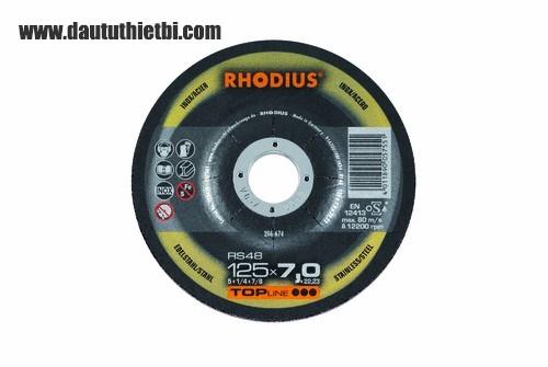 Đá mài thép không gỉ inox RHODIUS kích thước 125 X 22.23 X 6 MM PART NUMBER :206672 CODE: RS48