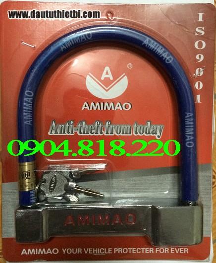 K02. Khóa chữ U cho xe máy loại thép inox bọc nhựa màu xanh hoặc đỏ loại to AMIMAO