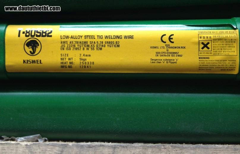 Que hàn T80S-B2 Kiswel Korea AWS ER80S-B2 đường kính 2.4 mm