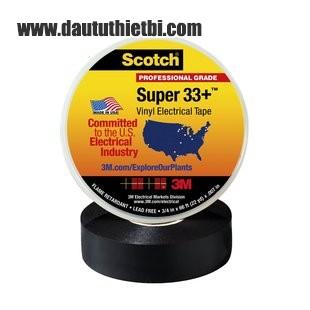 Băng dính cách điện 3M SCOTCH super 33+ màu đen kích thước rộng 19 mm dài 20 mét
